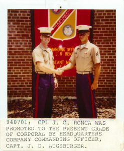 Jay Ronca being promoted to Corporal at The Marine Security Guard School July 1st, 1994
